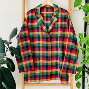 Handmade Rainbow Check Button Up Loose Fit Jacket